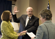 Craig Fugate, the new FEMA Administrator, being sworn in by DHS Secretary Janet Napolitano