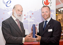 Prince Michael of Kent presents the Queen's Award for International Trade to Ian Steel, MD of Fire Fighting Enterprises Ltd, at International Firex 2009