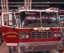 A Ferrara Fire truck on display at FDIC: the company is launching two new products at the annual show