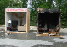 The NFPA, Home Fire Sprinkler Coalition and Plymouth, MA Fire Department took part in a sprinkler demonstration. Below: one room used sprinklers, the other didn't - side by side the benefits of sprinklers are clearly seen