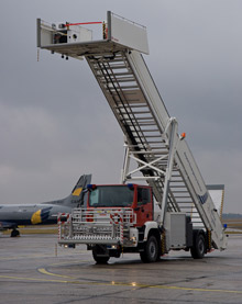 One of ROSENBAUER's mobile stair rescue vehicles at Berlin Airport
