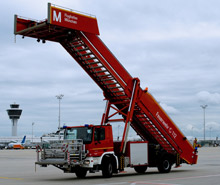 The Munich model: each ROSENBAUER stair rescue vehicle comes equipped with a minimum range of quick attack features, including telescopic water lines and NEPIRO branch pipe