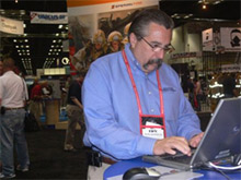 Chief Ronald Siarnicki at the Sperian Fire booth at FDIC 2009, registering to make his donation to the NFFF and CFFF as part of Sperian's fundraising drive