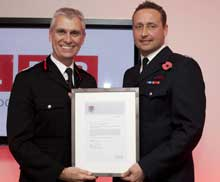 Manager John Carpenter, based at Dowgate fire station, at the award ceremony
