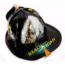 This Reach For The Light helmet shows a firefighter reaching out for the light at the end of the tunnel