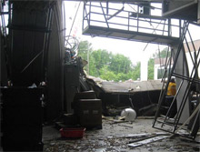 The scene following the explosion at the Slim Jim meat processing plant in June 2009. The U.S. Chemical Safety Board has now released a safety bulletin to promote safe practices during gas purging operations