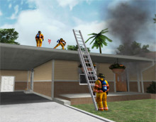 A screenshot from FLAME-SIM showing a virtual scenario involving three firefighters. Red Deer Emergency Services in Canada is now using FLAME-SIM software to train its personnel