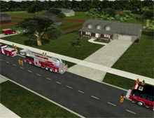 A screenshot from FLAME-SIM training software, which has been purchased by the City of Leduc Fire Services (LFS) in Alberta, Canada