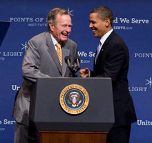 President Obama and former President George H. W. Bush at the Presidential Forum on Service, which was attended by two representatives from the Johnson Country RFD Fire Safety Team