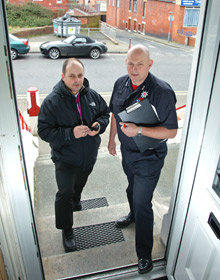 Fire inspectors making a visit to a premises. GGP Systems has launched a route planner designed to maximise the number of building inspections