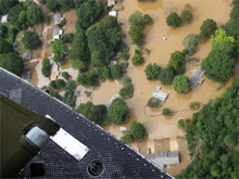 A FEMA image showing flooded homes in central Georgia following the recent severe weather