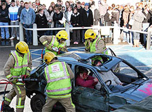 Firefighters from Kent Fire and Rescue Service demonstrating the extrication of car crash victims at last year's event