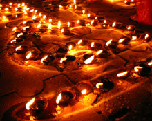 An arrangement of traditional diya lamps set out in celebration of Diwali. London Fire Brigade is urging those celebrating the festival to be aware of fire safety risks