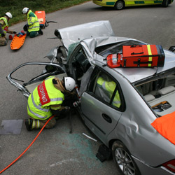 Extricating victims from vehicles following collisions requires advanced medical care