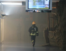 A firefighter checking the mall in Vilnius, Lithuania, where 19 fire sprinklers previously operated to control and extinguish a fire