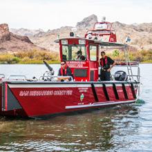 Lake Assault Boats fire and rescue boat, San Bernardino County Fire Dept, California