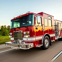 Pierce Saber custom pumper equipped with a Ford 6.7L V-8 turbo diesel power train