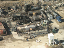 The scene of the explosion at T2 Laboratories in December 2007. The U.S. Chemical Safety Board has concluded that the explosion resulted from a chemical reaction caused by inadequate reactor cooling