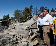 Governor Schwarzenegger surveys damage caused by the 49 fire in Placer County, California during today's tour and briefing