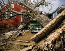 Hurricane damage following Hurricane Katrina - Fire Corps are urging particular preparedness on US residents during peak hurricane season