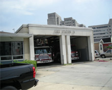 The exterior of New Orleans fire station 14 fully restored after the devastation of Katrina