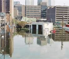 New Orleans fire station 14 as it appeared following Hurricane Katrina