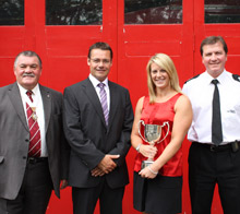 Pictured, from left to right: Peter Cowland from the Worshipful Company of Firefighters, Chair of the FSSAA Andy Fry, Firefighter Janine Culley and Deputy Commissioner of London Fire Brigade Roy Bishop
