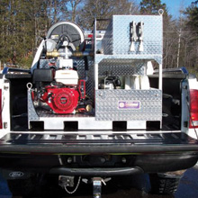 Compact pick-up truck FIRELITE skid units are utilized in rural construction areas, mining operations, various other events throughout the United States