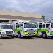 The Quint 75-foot heavy-duty aerial ladder is built on a Pierce Velocity chassis with TAK-4® independent front suspension