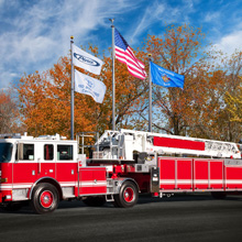 The Aerial Tiller vehicles are built on the Pierce Arrow XT chassis with a raised roof cab, seating for five firefighters
