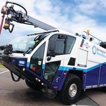 Oshkosh Striker 6 x 6 is one of five apparatus recently delivered to Birmingham Airport in Birmingham, England