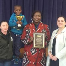 Hannah Mansell presents fire door safety award