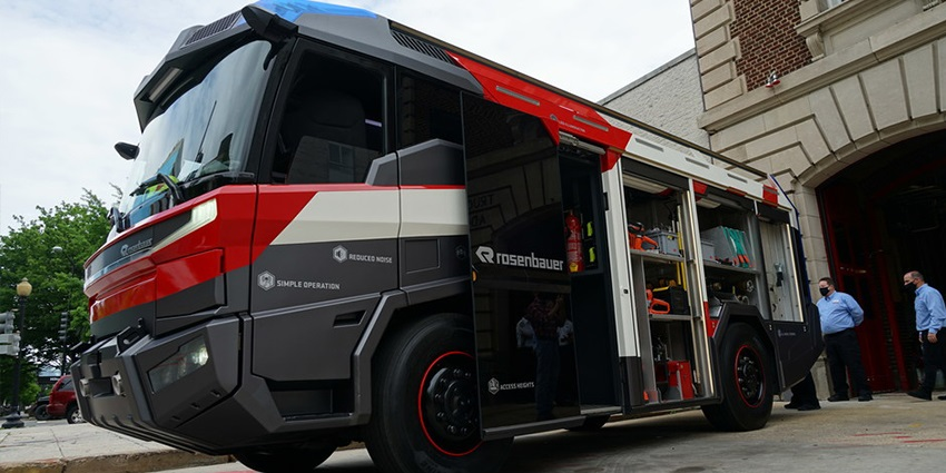 Rosenbauer's Revolutionary Technology (RT) fully electric fire truck visits Engine 3 in Washington, D.C