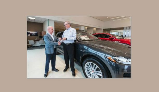 ADI Global Distribution Hands Over Keys To A New Jaguar F-Pace Car To American Fire Protection Group's Roddy Bieber