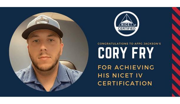 American Fire Protection Group's Cory Fry Achieves NICET IV Fire Alarm System Certification