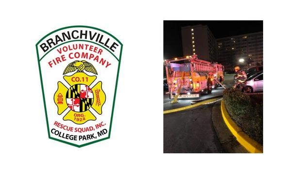 Branchville Volunteer Fire Company's E811 Goes As Fourth, Arrives As Third For High Rise Apartment Fire In Laurel