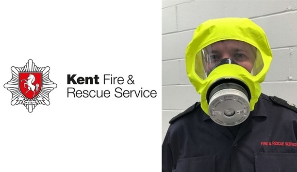 Kent Fire And Rescue Service Carries Escape Hoods To Protect People From Toxic Smoke During Rescue Operation