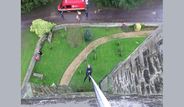Kent Fire And Rescue Service, In Collaboration With Kent Police, Carries Out Mock Rescue Drill At Chevening Church Tower