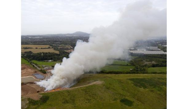 Shropshire Fire And Rescue Service Firefighters Tackle Huge Blaze At Granville Recycling Plant, In Telford, UK