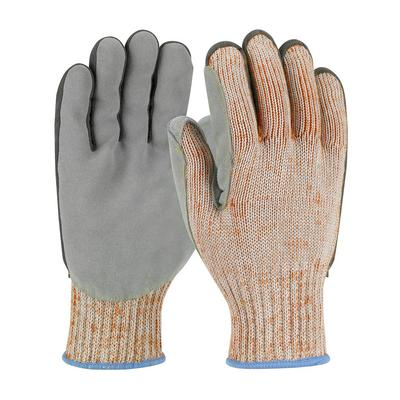 Protective Industrial Products 09-H550SLPV Seamless Knit PolyKor Blended Glove with Split Cowhide Leather Palm and Aramid Stitching - Vend-Ready