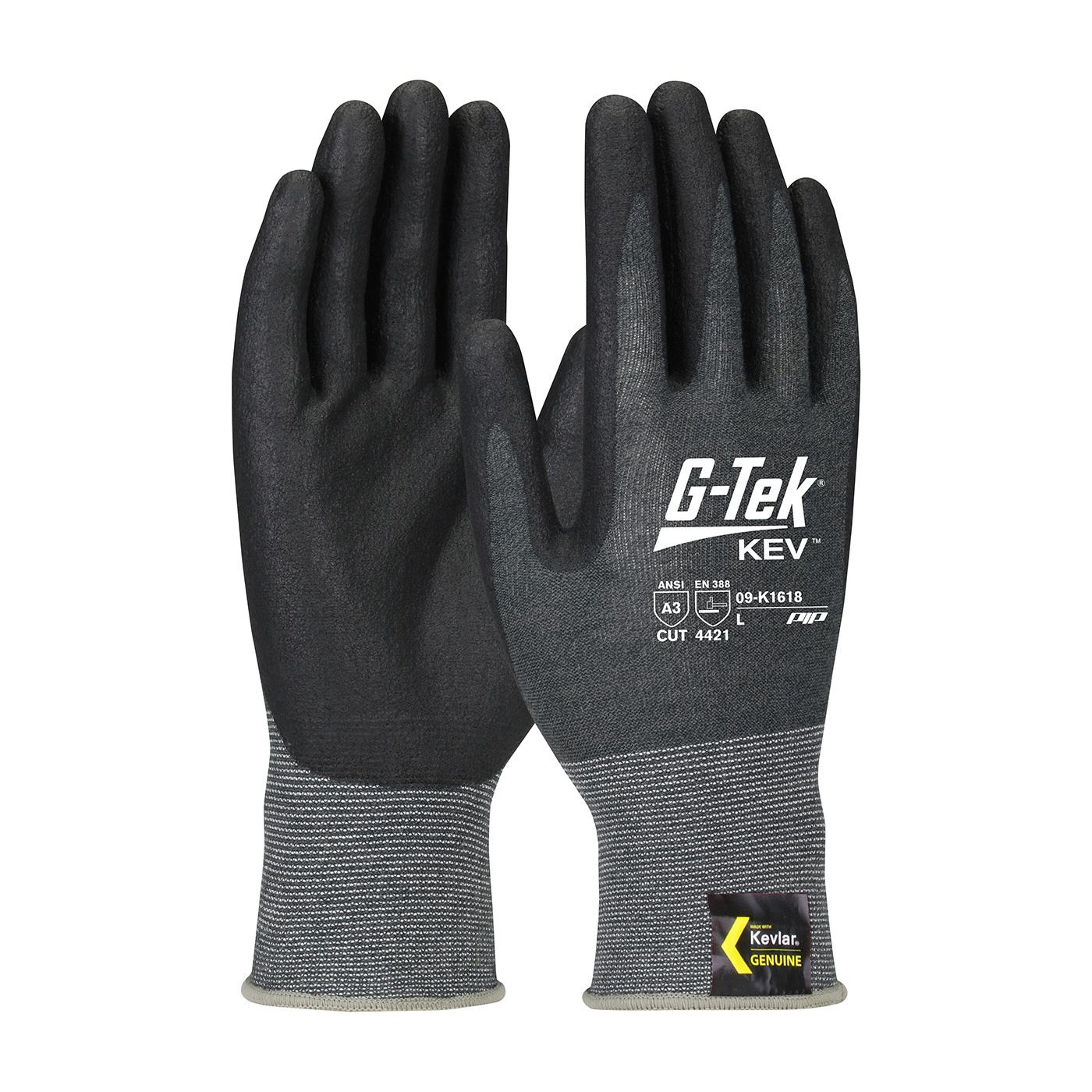 Protective Industrial Products 09-K1618 Seamless Knit Kevlar® Blended Glove with Nitrile Coated Foam Grip on Palm & Fingers
