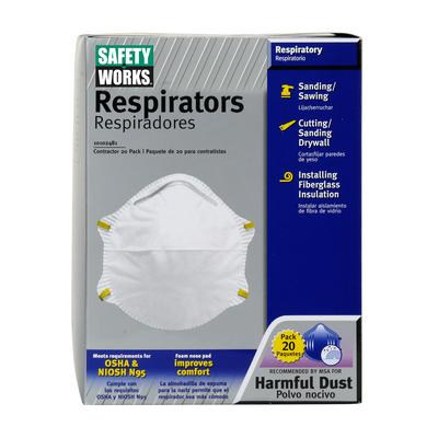 Protective Industrial Products 10102481 N95 Harmful Dust Disposable Respirator - 20 Pack