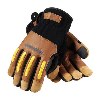 Protective Industrial Products 120-4100 Reinforced Goatskin Leather Palm Glove with Leather Back, Kevlar® Lining and TPR Molded Knuckle Guards