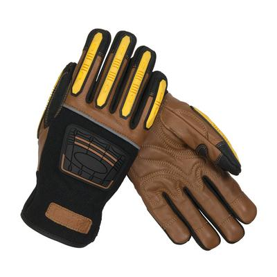 Protective Industrial Products 120-4150 Reinforced Goatskin Leather Palm Glove with Leather Back, Kevlar® Lining and TPR Molded Knuckle and Dorsal Guards