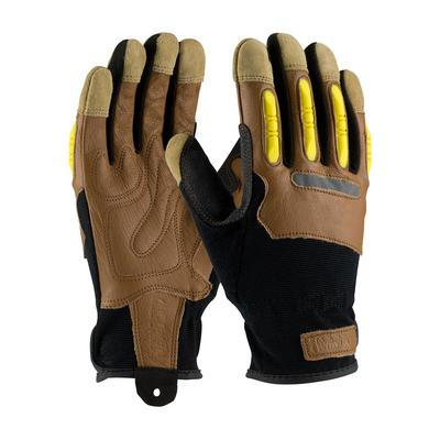 Protective Industrial Products 120-4200 Reinforced Goatskin Leather Palm Glove with Leather Back and  TPR Molded Knuckle Guards