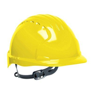 Protective Industrial Products 280-EV6131 Standard Brim Hard Hat with HDPE Shell, 6-Point Polyester Suspension and Slip Ratchet Adjustment