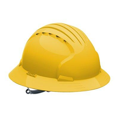 Protective Industrial Products 280-EV6141 Full Brim Hard Hat with HDPE Shell, 6-Point Polyester Suspension and Slip Ratchet Adjustment