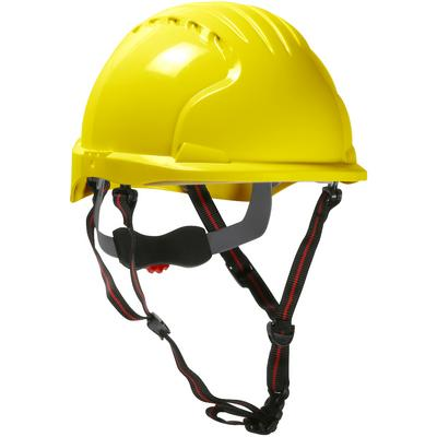 Protective Industrial Products 280-EV6151S-CH Short Brim Safety Helmet with HDPE Shell, 4-Point Chinstrap, 6-Point Suspension and Wheel Ratchet Adjustment