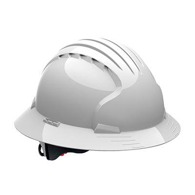 Protective Industrial Products 280-EV6161 Full Brim Hard Hat with HDPE Shell, 6-Point Polyester Suspension and Wheel Ratchet Adjustment