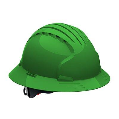 Protective Industrial Products 280-EV6161V Vented, Full Brim Hard Hat with HDPE Shell, 6-Point Polyester Suspension and Wheel Ratchet Adjustment